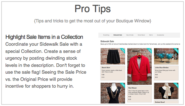 content corner pro tips highlighting sale items