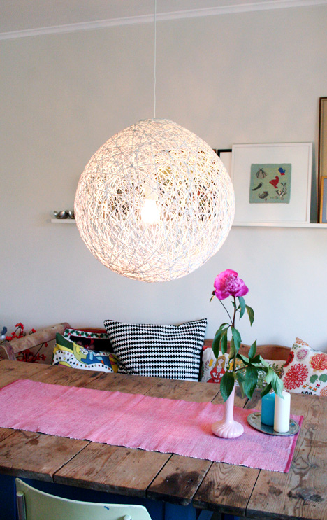 DIY lighting yarn lamp