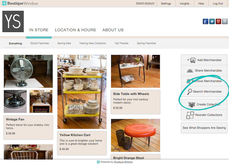 how searching in boutique window works 2013