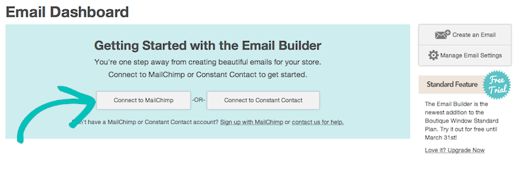 integration with mailchimp or constant contact 2014