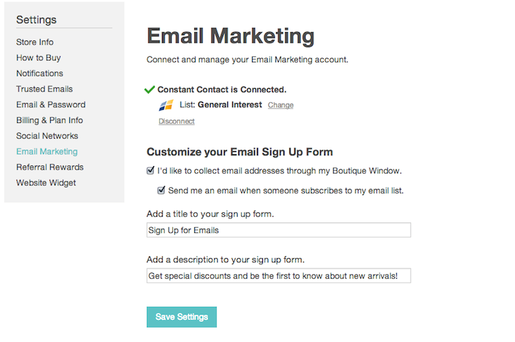 manage email marketing settings 2014