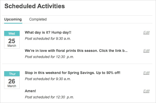 scheduled activities 2014