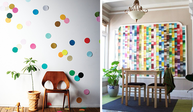 confetti and swatches wall display inspiration june 2014