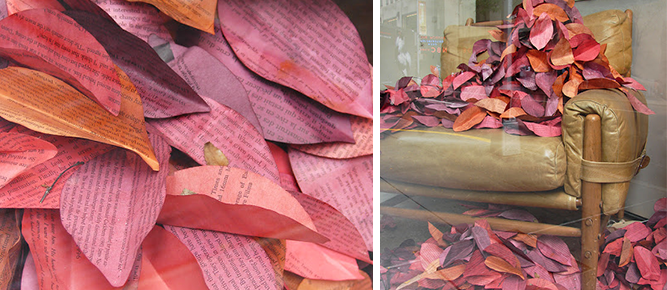 fall display ideas paper leaves 2014