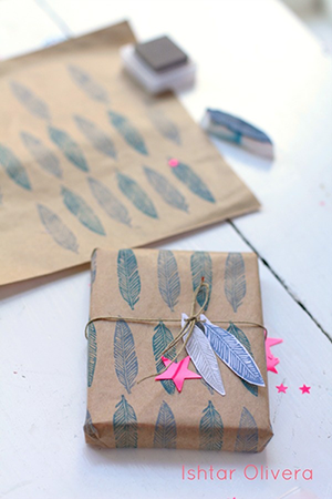 indie gift wrap stamped paper 2014